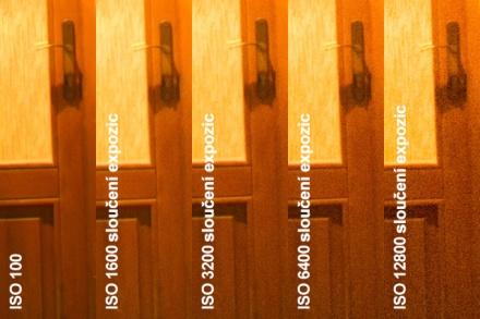 Redukce šumu sloučením expozic, výřez 1:1 z originálního rozlišení (18 MPx)
