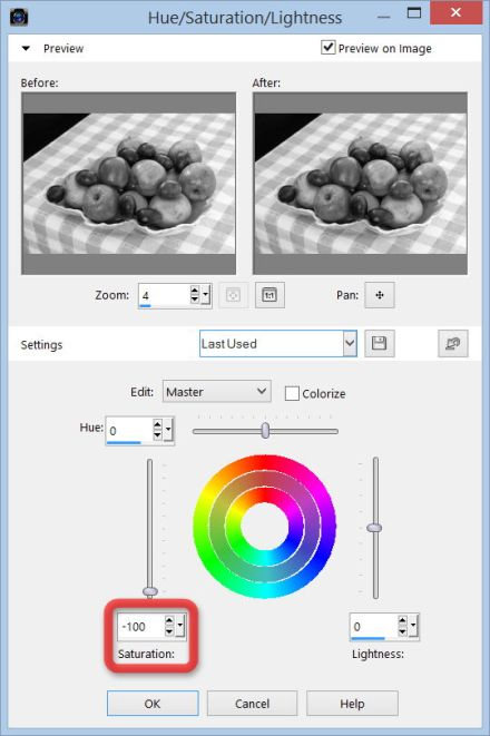 Corel PaintShop X7 dialogove okno Hue Saturation Lightness