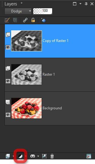 Corel PaintShop X7 panel Layers