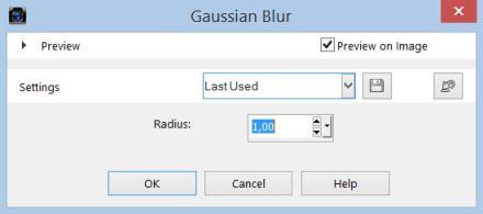 Corel PaintShop X7 dialogove okno Gaussian Blur