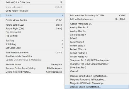 Adobe Photoshop Lightroom Open as Layers in Photoshop