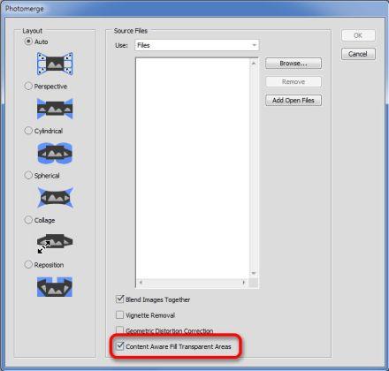 Adobe Photoshop CC 2015 photomerge content aware panorama výplň podle obsahu